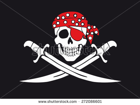 stock vector jolly roger pirate flag with skull and swords in bandanna 272086601